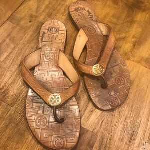 Tory Burch Brown Leather Sandals Flip flops